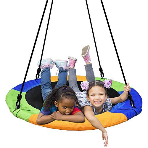 AMHHK 40 '' Saucer Tree Swing Flying 660lb Gewicht Kapazität 2 Hängegurte verstellbar Multi-Strang-Seile Bunte sichere und haltbare Schaukel für Kinder Erwachsene