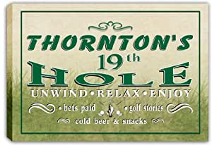 scpi1-1354 THORNTON'S Golf 19th Hole Bar Stretched Canvas Print Sign