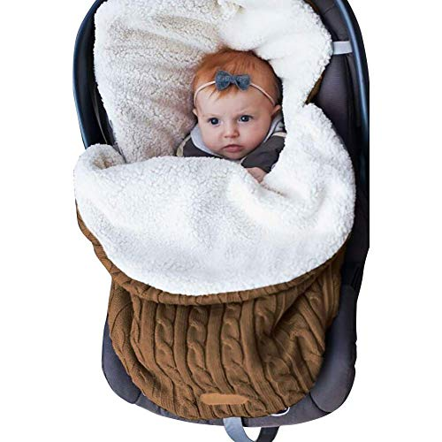 Plus Samt Verdickung Neugeborenes Baby Schlafsäcke, stricken weiche warme Fleece Schlafsack Sack Kinderwagen Wrap für Herbst und Winter, für 0-12 Monate Jungen und Mädchen (Brown) - Herren-pyjama Stricken