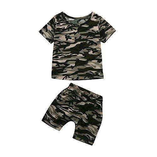 SUCES Bekleidung Kleinkind Baby Jungen Sommer Outfits Set Camouflage Trainingsanzug Kurzarm T-Shirt Tops Oberteile + Shorts Hose Babykleidung fur 1-4 Jahre