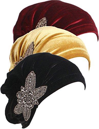 Black Velvet Bow (Ababalaya Damen Weich Gold Samt Strasssteine Muslimische Turban Chemo Krebs Cap Nachtmütze,Schwarz+Gold+Burgund)