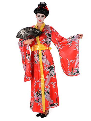 Generique - Geisha-Kostüm rot für Damen M (Rotes Geisha Kostüm Für Erwachsene)