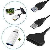 Iitrust USB zu SATA 22 Pin Konverter Adapter mit Dual- USB- Schnittstelle für Handys, Tablets, Laptops und Desktop-Computer (USB 3,0 zu SATA 22 Festplatten-Kabel)