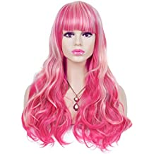 Spretty Harajuku estilo largo rojo rosa Ombre Big Curly pelucas con Full Bangs para Anime Cosplay
