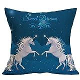 "Gemini_mall 18"" x 18"" Cushion Covers, Colorful Unicorn Throw Pillow Case Square Cushion Cover Home Decor (Unicorn #9)"