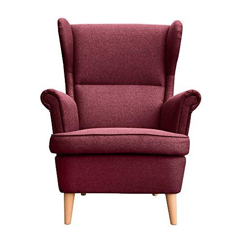 myHomery Sessel Luccy gepolstert - Ohrensessel Polsterstuhl für Esszimmer & Wohnzimmer - Lounge Sessel mit Armlehnen - Eleganter Retro Stuhl aus Stoff mit Holz Füßen - Bordeaux | Sessel -