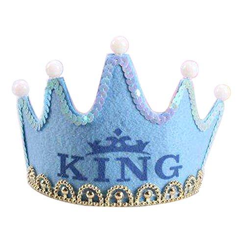 (Nicky Blau King Krone mit LED Geburtstag Prinz Prinzessin Haarreif Kopfschmuck Leuchtend Geburtstagsfeier Party Königskrone für Kinder Erwachsene)