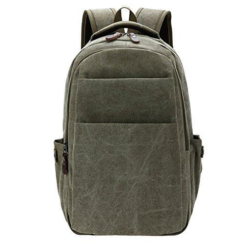 TININNA Vintage Retro tela Zaino Backpack Satchel Sacchetto di scuola Schoolbag Brown Verde