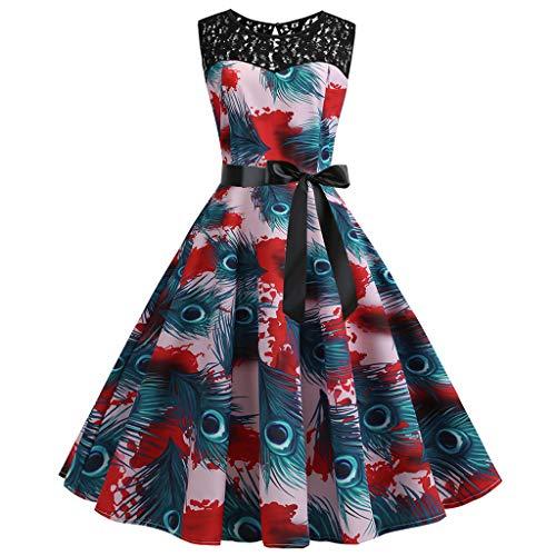 LQQSTORE Kleider Damen Kleid 1950er Vintage Retro Sexy Off Shoulder Printing Abend Party Prom Swing...
