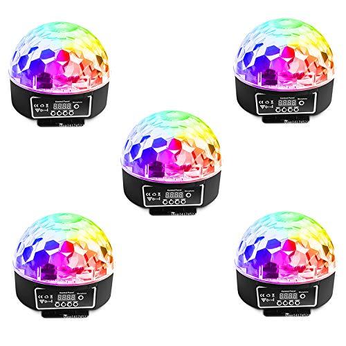 (5PCS 6 Farbe Led Disco Kristall Magische Ball Party Licht DMX Digitalanzeige 512 DJ Blitzlicht Sound Aktiviert Bühneneffekt Drehendes Licht Mit Fernbedienung KTV Party Hochzeit Familie Club Dekoration)
