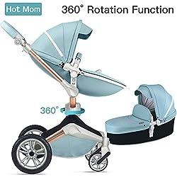 Silla de paseo Hot Mom 3 en 1 Reversibilidad rotación multifuncional de 360 grados con asiento y capazo 2018 Nueva actualización - azul, obtener: riel de cama para bebé