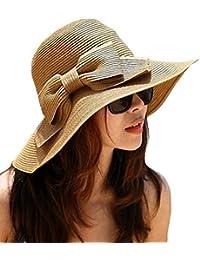 La haute Chapeau de soleil Large Bord pliable Motif de nœud papillon Femme Chapeau Pare-soleil en Paille de plage.