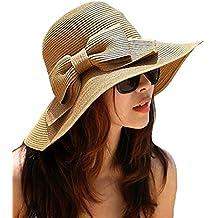 La Haute Sombrero de paja, de ala ancha, para mujer, plegable, con lazo, para la playa y el sol, niña mujer, café, talla única