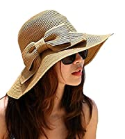 LA HAUTE Women's Foldable Bowknot Floppy Straw Sun Hat Wide Brim Beach Sun Visor Hat Cap Color Coffee