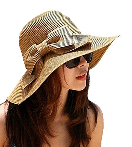 La Haute Damen faltbar Schleife Floppy Stroh Sun Hat Breite Krempe Strand Beach Sonne Visier Hat Cap coffee coffee (Floppy Brim Hat)