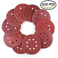 Lot de 100 disques de ponçage disque abrasifs velcro pour ponceuse excentrique Ø 125 mm grain abrasif de 40/60/80/100/120/180/240/320/400/800 (10 disques à poncer par taille de grain)
