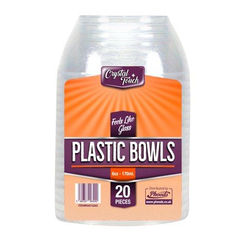 Klar Kunststoff Einweg Party Teller Hart, extra stark hochbeanspruchbar wiederverwendbar Teller, plastik, durchsichtig, Desert Bowls (6 Oz.- 170ml)