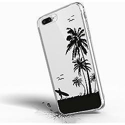 Inonler Kokospalmen und tropischen Strandurlaub Surf weich transparent hülle(iPhone 5/5S/SE,Violett)
