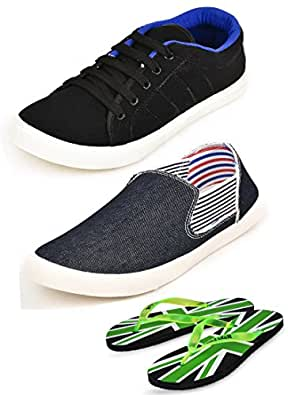 Scatchite Men's Blue Sneakers & Loafers 7(Combo Of 2)