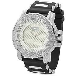 Men's Rodium Plated Ice Master White Dial Watch w/CZ Bezel & Black Band