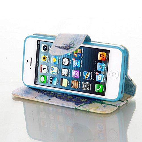 HB-Int 3 in 1 Custodia in Pelle per iPhone 5 / 5S / SE Colorato Pattern Chiaro Shell Custodia Protettiva Portafoglio Stand Case Book Style Elegante e di Alta Qualità con Porta Carte di Credito e Banco Porpora Fiore