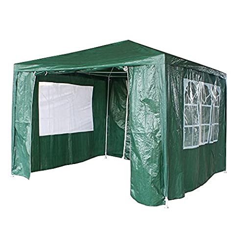 Tuff Concepts Garden Gazebo with Sides Waterproof Outdoor PE Marquee Canopy Party Tent (3x3 Green)