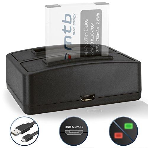 Dual-Ladegerät (USB) für Fuji NP-50, NP-50A, NP50 / Kodak Klic-7004 / Pentax D-Li68, D-Li122 - Kompatible Kameramodelle s. Liste!