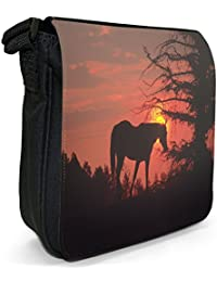 Horse On A Hill At Sunset Small Black Canvas Shoulder Bag / Handbag