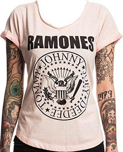 RAMONES - Negro Seal - Camiseta Oficial Mujer - Rosa, Small