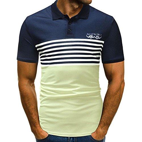 UFACE Herren Kurzarm-Panel-Print-Shirt Mens Tasten Design Half Cardigans Kurzarm Patchwork Casual T-Shirt (XL, Gelb)