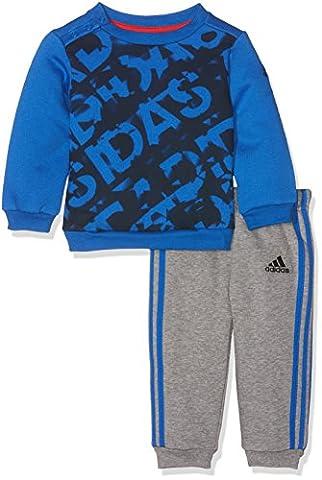 adidas Kinder Mini Me Athletics Trainingsanzug, Blue/Black/Core Heather, 98