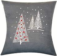 Embroidery cushion kit Christmas trees