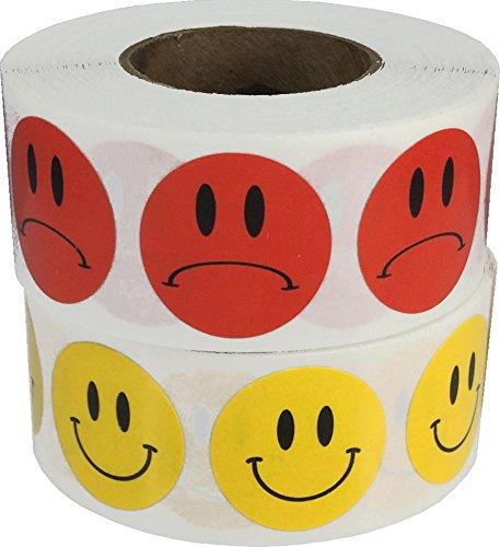 Amarillo Cara Feliz y Rojo Cara Triste Pegatinas Paquete, 19 mm 3/4 Pulgada Redonda, 500 Etiquetas de Cada Cara, 1000 Pegatinas en Total