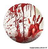 Karneval-Klamotten blutiges Tischdeko Party Set XXL Halloween Horror Blut 38 Teile Teller, Becher, Servietten, Tischdecke, Girlande - 2