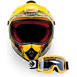 "Armor · AKC-49 Set ""Yellow"" (yellow) · Casco Moto-Cross · Off-Road NINOS Enduro Scooter Quad Racing motocicleta · DOT certificado · Click-n-Secure™ Clip · Bolsa de transporte · XL (59-60cm)"
