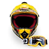 "Armor · AKC-49 Set ""Yellow"" (yellow) · Casco Moto-Cross · Off-Road NINOS Enduro Scooter Quad Racing motocicleta · DOT certificado · Click-n-Secure™ Clip · Bolsa de transporte · XL (59-60cm)"