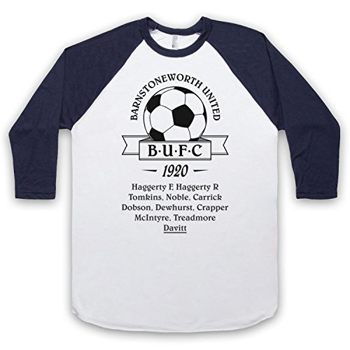 Inspiriert durch Ripping Yarns Barnstoneworth United FC Unofficial 3/4 Hulse Retro Baseball T-Shirt Weis & Ultramarinblau