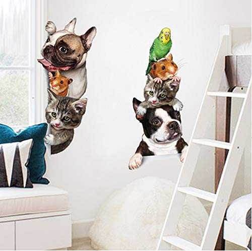 Lbonb Cartoon Pet Katze Hund Voyeur Tür Aufkleber Kindergarten Baby Kinderzimmer Dekoration Poster 3D Pvc Wasserdichte Kühlschrank Aufkleber