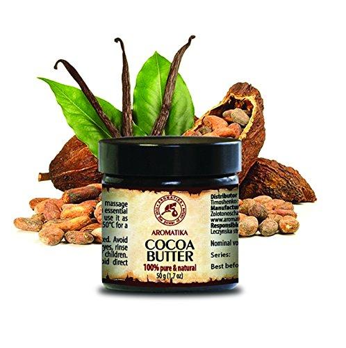 Natürliche Lippenpflege (Cocoa Butter - Kakao butter Unraffiniert - Native Rein und Natürlich 100g Glas - Südafrika, Kakaobutter für Lippenpflege, Stretch Marks, Haare - Körperbutter von AROMATIKA)