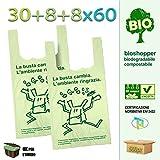 Palucart Lot de 500cabas biodégradables, compostables, conformément à la norme 2018(30+ 9+ 9x 60)