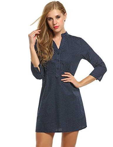 Meaneor Damen Blusekleid V-Ausschnitt Polka Dots Kleid Elegant Langarm