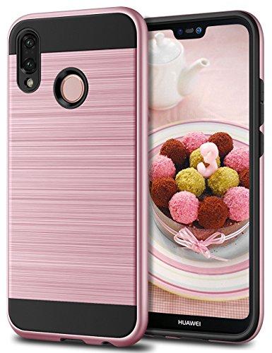 Huawei P20 Lite Hülle, Coolden Premium Stoßfest Handyhülle Silikon TPU + Hard PC Bumper Doppelschichter Schutz Ultra Dünn Hülle für Huawei P20 Lite (Pink)