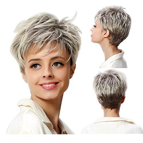 Tonake 360,parrucca grigia con capelli corti, resistente al calore, capelli da donna