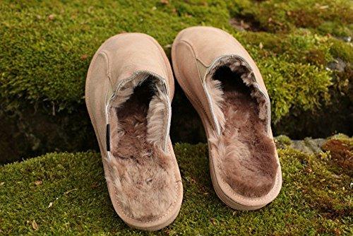 Lammfell Hausschuhe - VIKTOR Herren Pantoffeln Puschen Beige