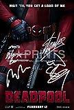 5 Star Prints Poster Deadpool Photo 30,5 x 20,3 cm dédicacé par Ryan Reynolds, Stan Lee, Ed Skrein, Morena Baccarin, autographe, Cadeau Parfait à Collectionner.