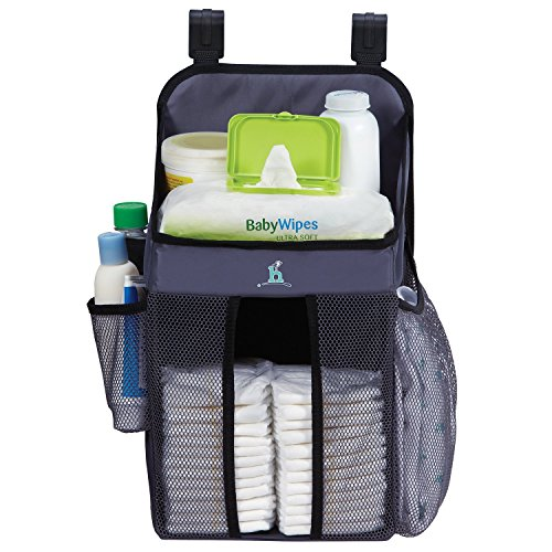 Amazingshop Cotton Crib Nursery Hanging Set Storage Bag with Cot Bedding Bottle Toy Diaper Pocket for Baby's (Blue)