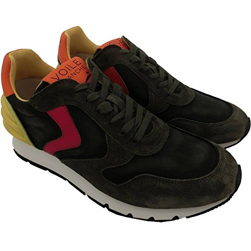 Voile Blanche scarpe uomo 1242 - Sneaker Liam Power Velour/Nylon/Tecno/Dec. 0012010422.05.9144 Mimetico-Rosso-Lemon, Camoscio, Verde, (45)