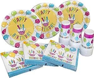 HEKU 30005 Set di stoviglie monouso per feste, con piatti, bicchieri e tovaglioli, 120 pezzi, Happy Birthday, 40 x 29 x 7 cm