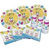 Heku 30005–13de la Fiesta desechables de Juego, papel con revestimiento Platos, Servilletas de papel, vasos de PP, Happy Birthday, diseño de 120unidades