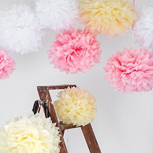 Romantische Rose Peach (9 Pompoms im Set in weiß, champagner oder rosa - Hängende Papierblumen zur Dekoration für Ihre Hochzeit - aus Seidenpapier für einen unvergesslichen Geburtstag und als Party-Deko (mit Anleitung DIY))